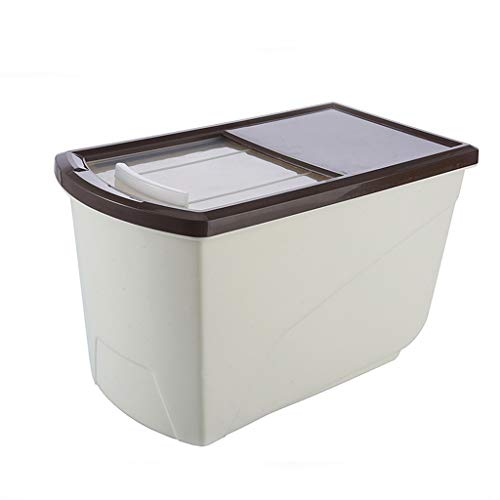 Kitchen Grain Rice Flour Storage Box Dog Food Storage Container Insect Proof Seal Moisture-proof 10kg (Color : Brown)