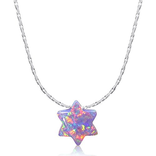 """- Simulated Purple Opal Star of David Charm Pendant Solid Sterling Silver 16"""" inch Cardano Chain Necklace"""