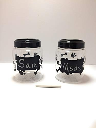 (Dog Treat and Food Canister with Chalkboard Label and Chalk for Personalization)