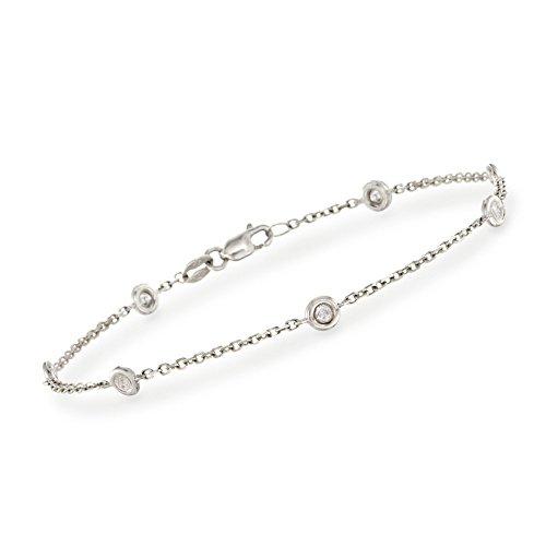 Ross-Simons 0.20 ct. t.w. Diamond Station Bracelet in 14kt White Gold