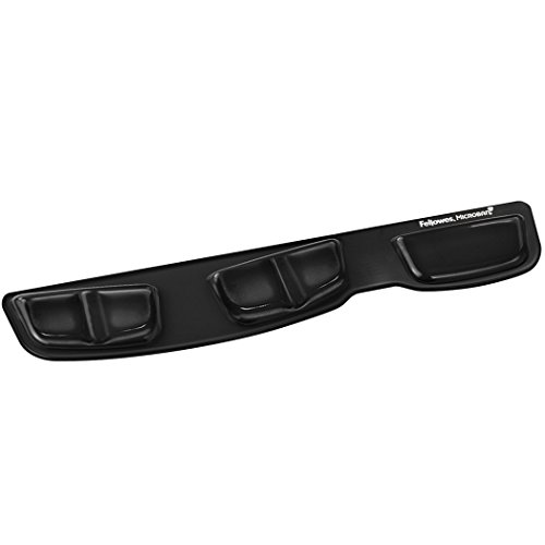 Antimicrobial Foam Wrist Rest - Fellowes Keyboard Palm Support with Microban Protection, Gel, Black (9183201)