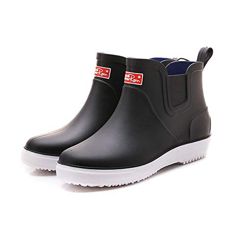 Men Waterproof Rubber Rain Boots with Easy-On Handles,Winter rain Boots(Black 40/6.5 D(M) US ()