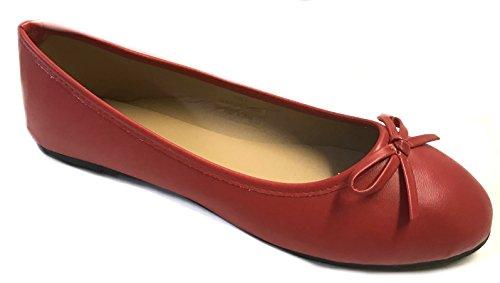 Schoenen8teen Schoenen 18 Nieuwe Dames Ballerinas Ballerinas Schoenen Leopard & Solids 14 Kleuren Rood