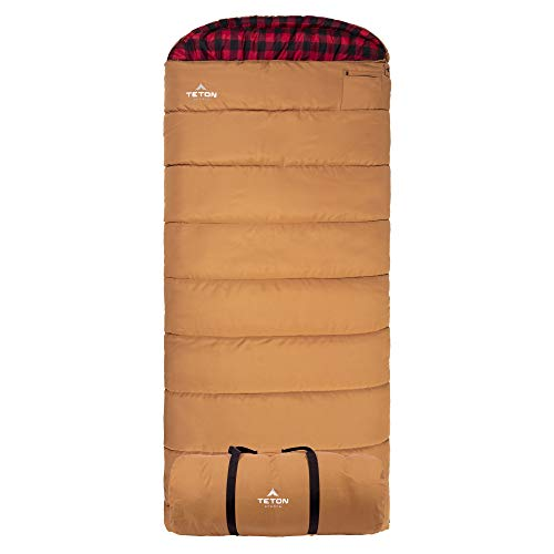 (TETON Sports Deer Hunter Sleeping Bag; Warm and Comfortable Sleeping Bag Great for Camping Even in Cold Seasons; Brown, Left Zip)
