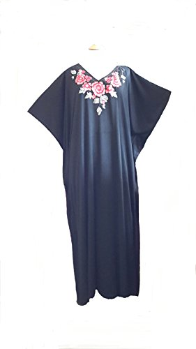 (14705 Black) Damen Cotton/Polyester Knitted with White Embroidery Long Kaftan. One Size Fit UK 10-32