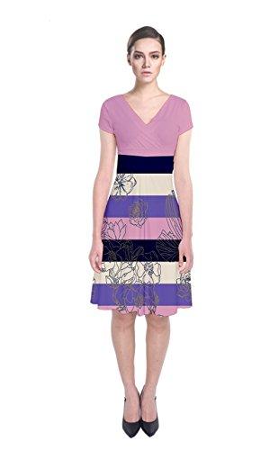 Cowcow Femmes Floral Paisley Manches Courtes Rayures Rose Wrap Dress Avant