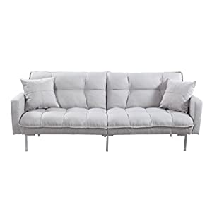 Divano Roma Furniture Collection - Modern Plush Tufted Linen Fabric Splitback Living Room Sleeper Futon