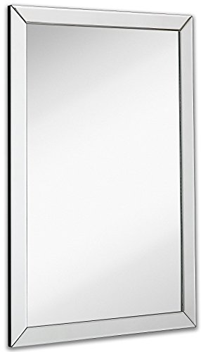 Large Flat Framed Wall Mirror with 2 Inch Edge Beveled Mirror Frame - Sink Or Two Small Mirrors Bathroom Double One