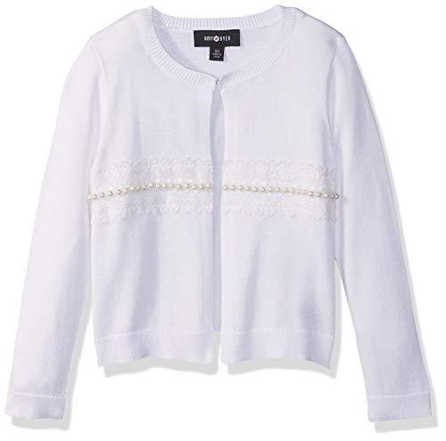 Amy Byer Girls' Big Dressed Up Cardigan Sweater, White -