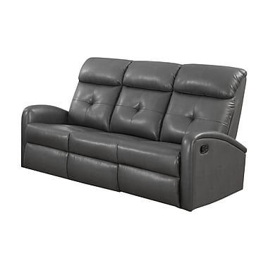 Modern Reclining Sofa (Monarch Specialties Reclining Sofa in Bonded Leather)