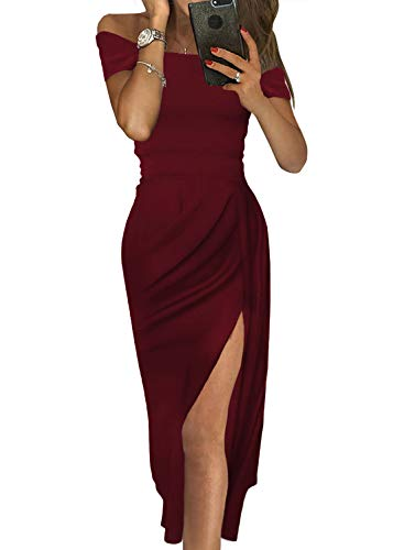 Gowns and Evening Dresses Womens Party Club Sexy Slit Dresses Off The Shoulder Ruched Midi Dress Wine L