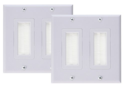 (iMBAPrice Dual Gang Decora Wall Plate with Brush Bristles - White (Pack of 2))