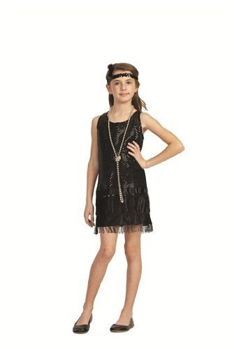 RG Costumes Sequin Flapper,Black,Small 4-6