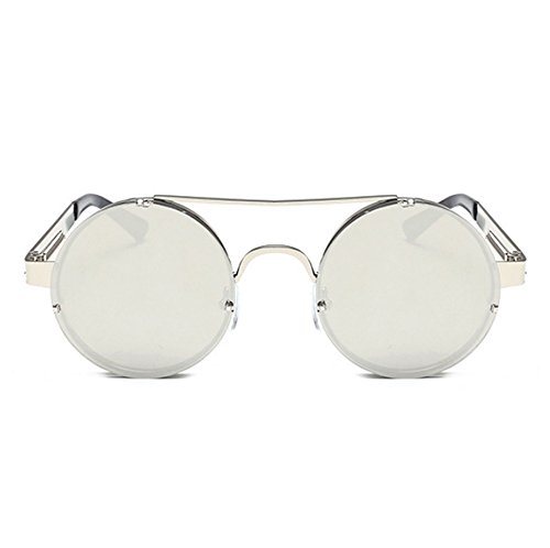 Retro Hellomiko marco Frame Metal Steampunk gafas sol Metal de de Spring Marco redondo Plata colorido de Plata EvwEHrq