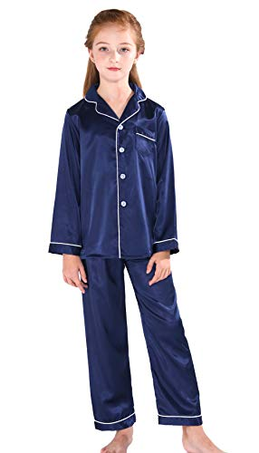 Horcute Pajamas Little Kid Sleepwears Set Pjs Clothes Long Sleeve Navy 160# 9-10Y ()