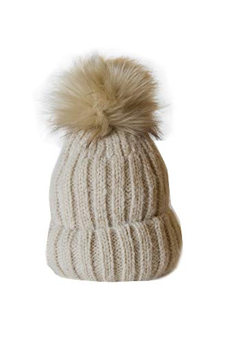 Pom Accent Pom Knit - Urbanista Women's Soft Fuzzy Ribbed Beanie with Faux Fur Pompom Accent, Beige