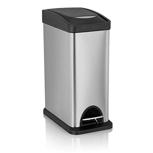 Fortune Candy Rectangular Stainless Steel Trash Can with Plastic Lid, Bathroom Office Garbage Cans,8 L / 2.1 Gal