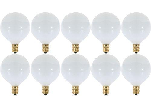 (Pack of 10) 15 Watt White G16.5 Decorative (E12) Candelabra Base Globe Shape 120V 15G16 1/2 Light Bulbs