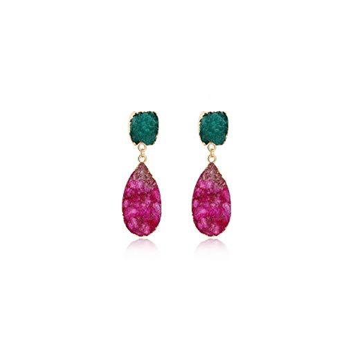 (Natural Stone Romantic Earrings For Girls Korean Style Single Red Green Crystal Dangle Earrings Gift,4)