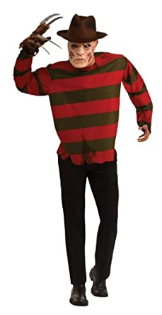 Nightmare On Elm Street Adult Freddy Krueger Costume, Red, X Large