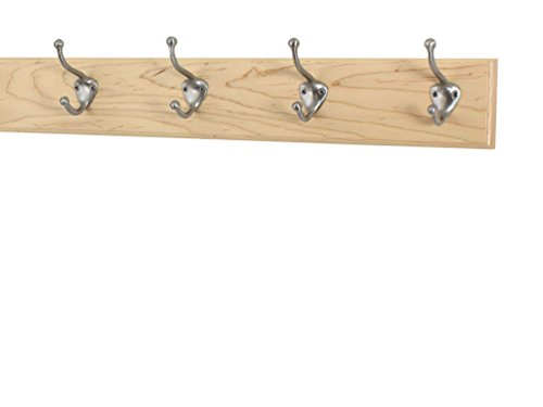 """Maple Coat Rack with Satin Nickel Hat and Coat Style Hooks (Natural, 20"""" x 3.5"""" with 4 hooks)"""