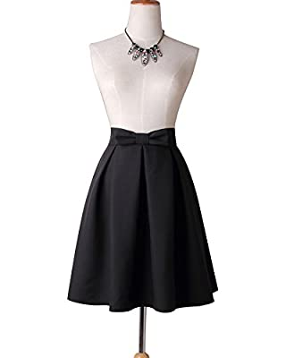 Women's Vintage High Waisted Bowknot Solid Pleated Flared A-line Skater Midi Skirts