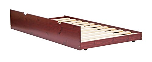 - Palace Imports 100% Solid Wood Twin Trundle On Wheels, Mahogany Color, 13