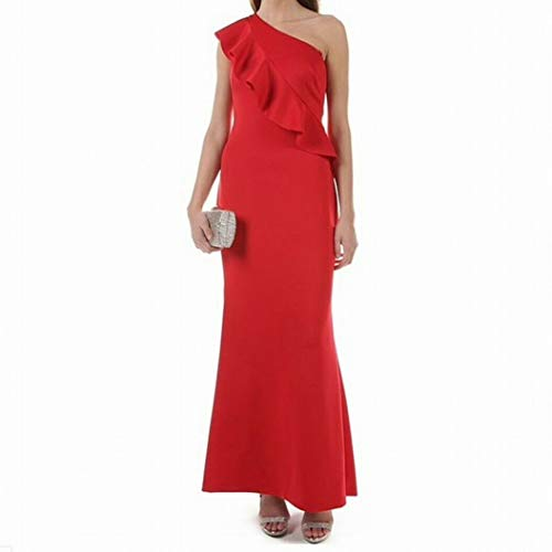 Jessica Howard Womens On Shoulder Cascade Ruffle Gown Reds