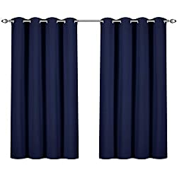 Utopia Bedding Blackout Room Darkening and Thermal Insulating Window Curtains/Panels/Drapes - 2 Panels Set - 8 Grommets per Panel - 2 Tie Backs Included (Navy, 52 x 63 with Grommets)