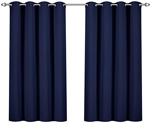 Utopia Bedding Blackout Room Darkening and Thermal Insulating Window Curtains/Panels/Drapes - 2 Panels Set - 8 Grommets per Panel - 2 Tie Backs Included (Navy, 52 x 63 Inches with - Room Blackout Curtain