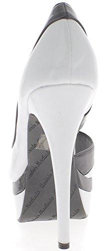 ChaussMoi Tamaño de zapatos de grandes tacones de 14cm y plataforma de esmalte de uñas blanco y negro