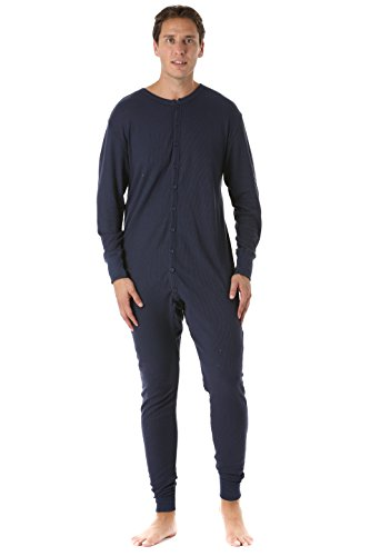 #followme 9393-NVY-L Men's Solid Thermal Henley Onesie (Mens Union Suit One Piece)