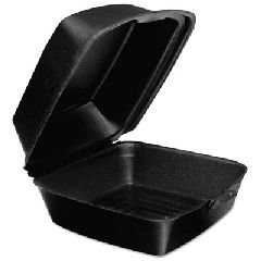 DCC60HTB1 - Dart Foam Hinged Lid Containers, 6 X 5.9 X 3, Black