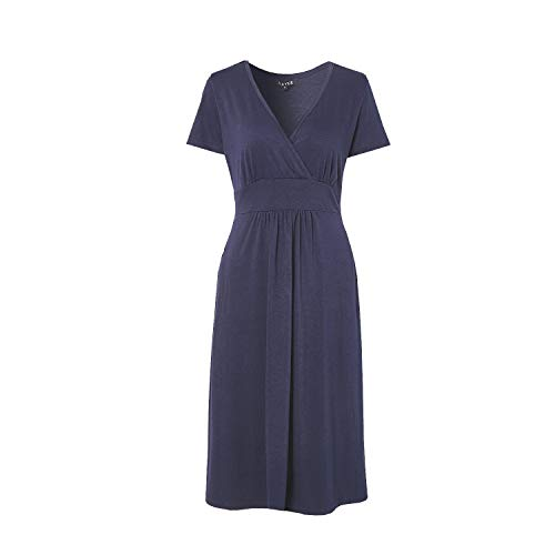 LANOU Womens Faux Wrap V Neck Short Sleeve Jersey Dresses for Women Work Casual (Medium, -