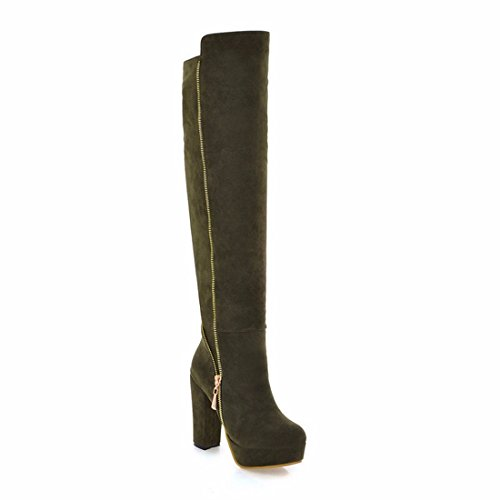 boots thick heeled boots high green bottom knee winter boots Army with Ladies xFtAt
