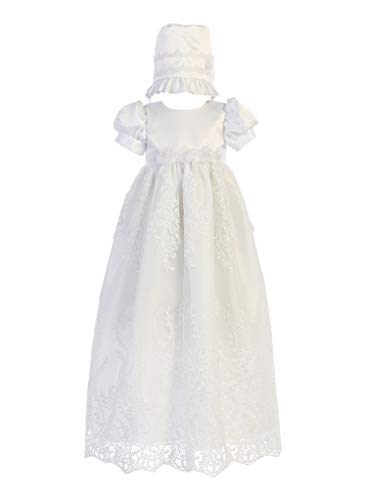 New Baby Girls White Satin Embroidered Tulle Dress Gown Christening Baptism Dedication Bonnet 0-18M (3-6 Months)