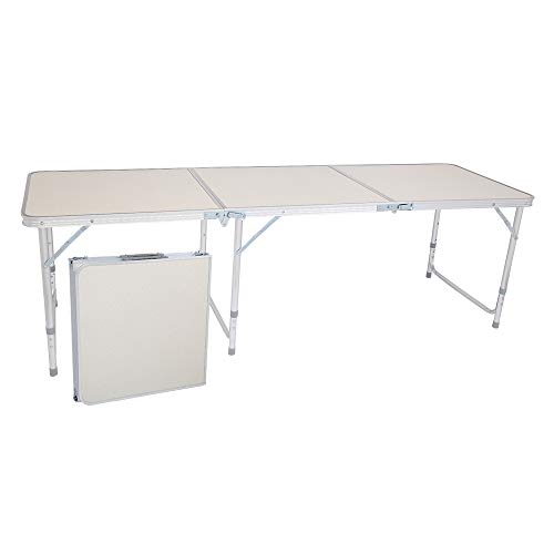 Binrrio 6 Foot Folding Table, Adjustable Height Lightweight Portable Indoor Outdoor Picnic Beach Camping Dining Table, Aluminum Utility Suitcase Desk, White 70.86 x 23.62 inch (Large)