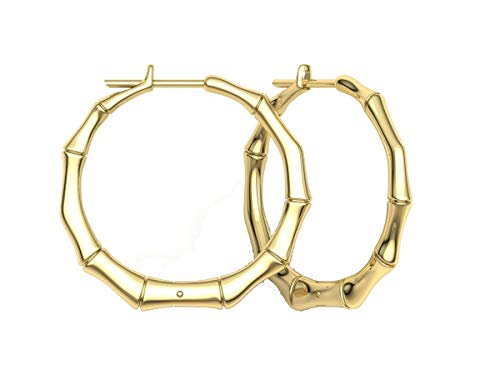 Gempara Designer Inspired 14K Gold Plated Bamboo 25mm Hoop Earrings - Gorgeous (Yellow) (Bamboo Earrings 14 Carat Earrings)