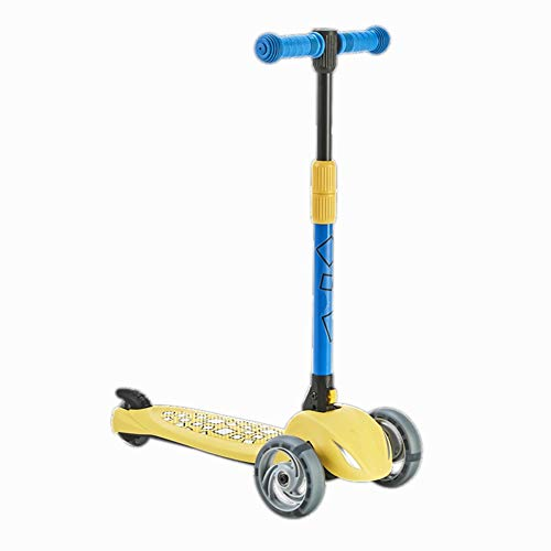YJFENG Three-Wheeled Scooters Trikes Flexible Turn Fall Prevention Adjustable Armrest Shock Absorption Fast Folding,6 Colors (Color : Yellow, Size : - Yellow Adjustable Shock