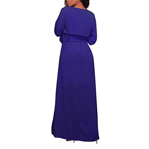 Abrigo manga de con Cárdigan cuello en XL cuello Invierno tamaño Azul largo gasa sin V de mangas Color en larga con ZFFde V 0Ywzx