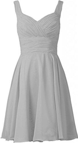 Chiffon V-neck Bridesmaid Dress (ANTS Women's V-neck Chiffon Bridesmaid Dresses Short Prom Gown Size 6 US Silver)