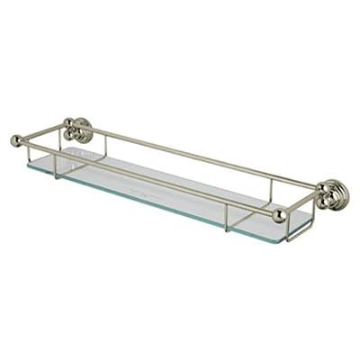 Rohl U.6953STN Perrin and Rowe Wall Mounted Glass Shelf with Towel Rack, Satin Nickel