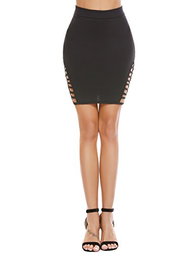 Zeagoo Women's High Waist Stretch Slim Fit Pencil Bodycon Short Mini Skirt Type3-black X-Large by Zeagoo (Image #1)