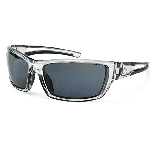 Filthy Anglers Balsam Polarized Sport Fishing Sunglasses, Smoked Clear Wrap Frame, Smoked Polarized Lenses