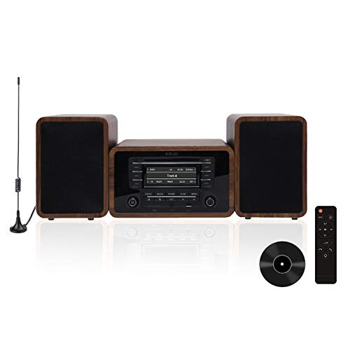 KEiiD Stereo Shelf System Powered with Bookshelf Speakers RMS 2X 25W for Home Audio Entertainment with CD Player and Bluetooth / FM Radio / USB / SD / AUX,Remote Control