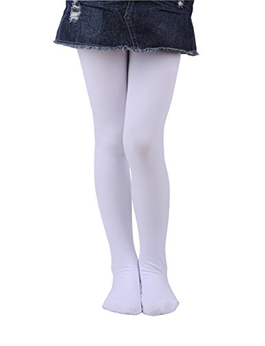 Girls Winter Warm Fleece Lined Tights Thick Dance Tights (Age:6-8 Height:120-135cm, White)