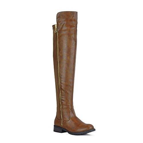 WestCoast Low Heel Over The Knee Boots Women's Stretch Back Side Zipper Long Boots Tan 8 (Brown Over Womens Knee The Boots)
