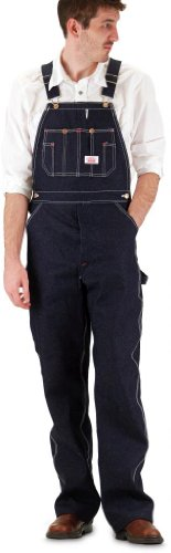 Round House Mens Classic Blues Denim - Button Fly - Overalls - Made in USA