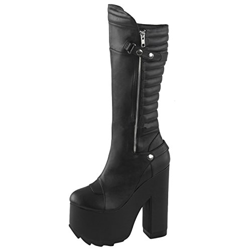 Heels-Perfect Gothic Stiefel, Damen, Schwarz (Schwarz) Schwarz (Schwarz)