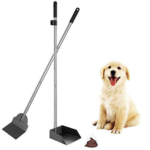 "SCENEREAL Pet Poop Tray & Spade Set Dog Cat Waste Removal Scoop with 37.4"" Long Detachable Handle"